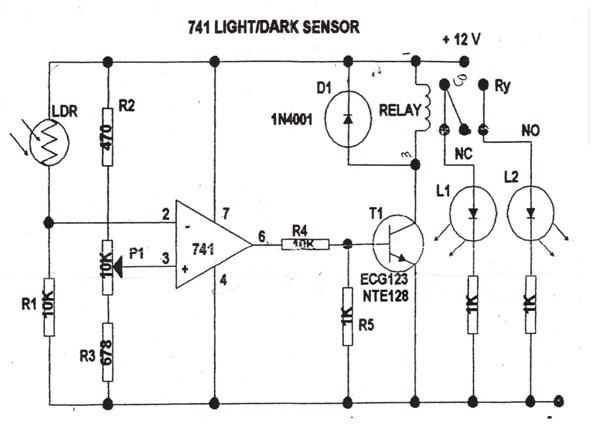 741 op  741 light dark sensor
