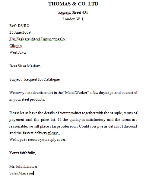 sample inquiry letter – Inquiring Letter Sample