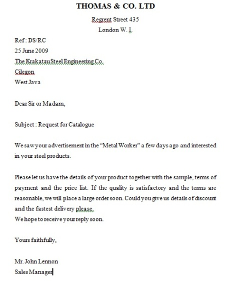 Inquiry Letter Surat Permintaan – Sample of Inquiry Letter in Business