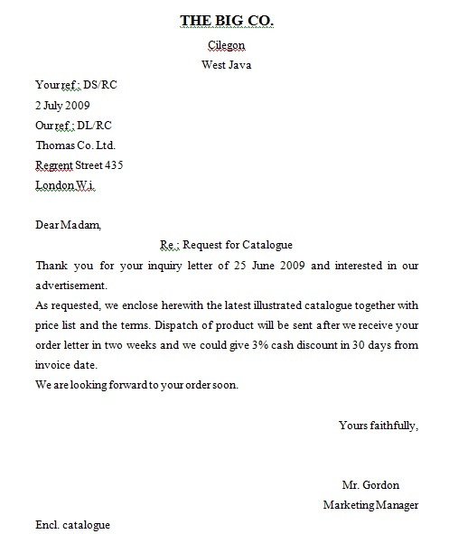ORDER LETTER: EXAMPLE